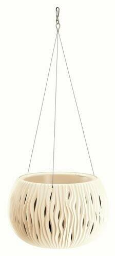 Blumentopf mit Einsatz und Stahl. Kabel SANDY BOWL WS creme 23,8 cm