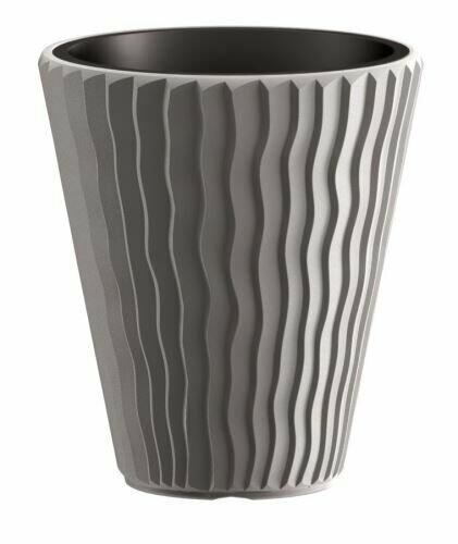 Blumentopf SANDY + Einlage grauer Stein 29,7 cm