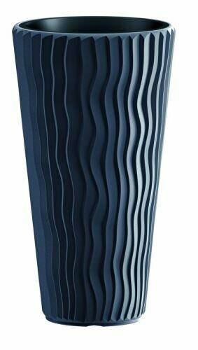 Blumentopf SANDY SLIM + Einlage anthrazit 29,7 cm