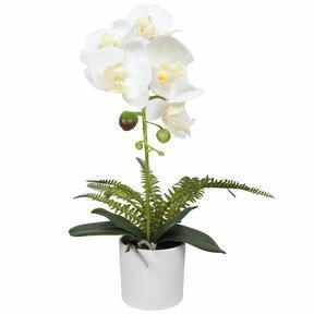 Künstliche Orchidee weiß mit Farn 37 cm
