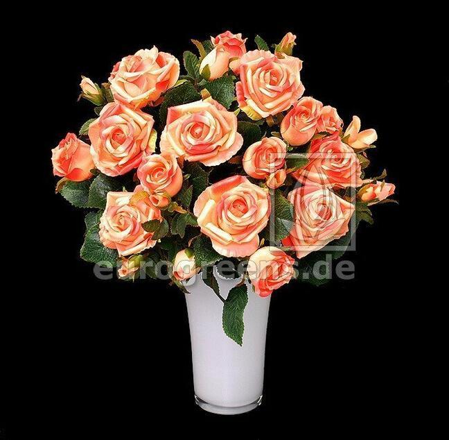 Künstlicher Strauß Rose rosa-aprikose 50 cm