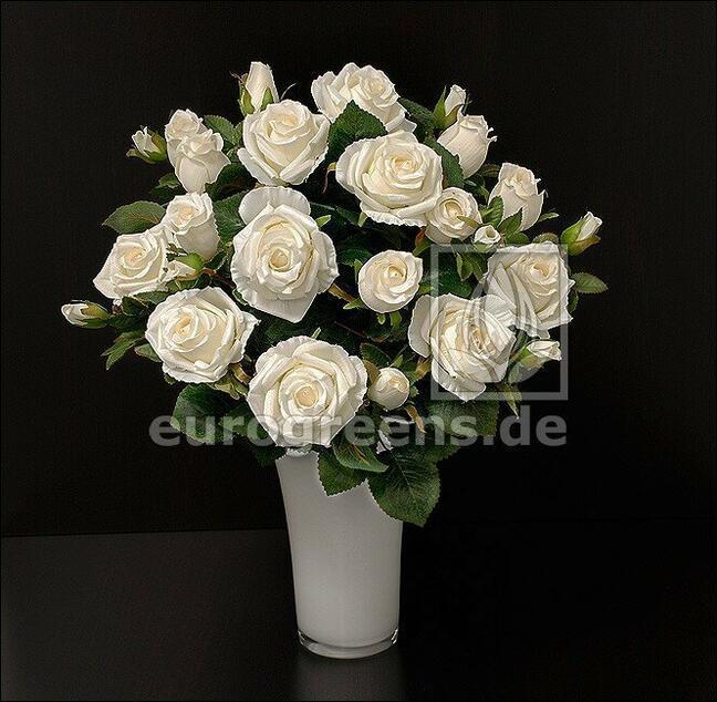 Künstlicher Strauß Rosencreme 50 cm